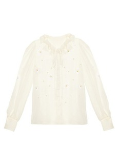 Dolce & Gabbana Margherite-embroidered silk-chiffon blouse