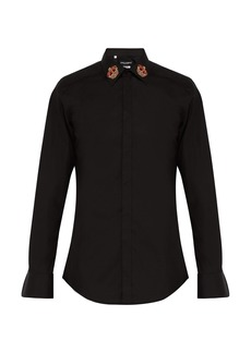 Dolce & Gabbana Martini slim-fit crown-embroidered shirt