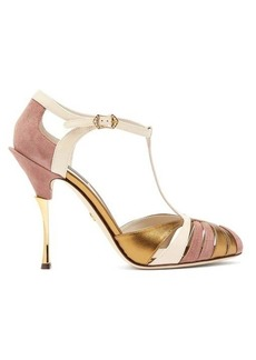 Dolce & Gabbana Metallic leather and suede T-bar sandals