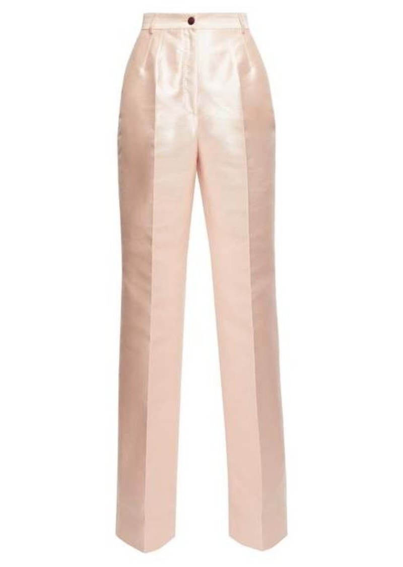 Dolce & Gabbana High-rise mikado-silk wide-leg trousers