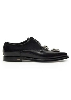 Dolce & Gabbana Millennial crystal-embellished leather derby shoes