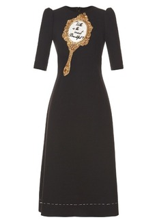 Dolce & Gabbana Mirror-embellished wool-blend cady midi dress