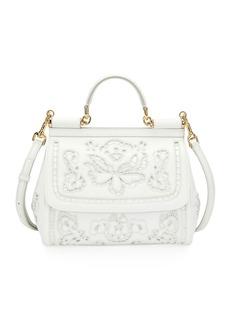 Dolce & Gabbana Miss Sicily Lambskin Lace Satchel Bag
