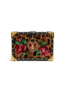 Dolce & Gabbana Leopard-print My Heart velvet box clutch bag