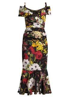 Dolce & Gabbana Off-the-shoulder floral-print stretch-silk dress