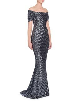 Dolce & Gabbana Off-The-Shoulder Pailette Gown