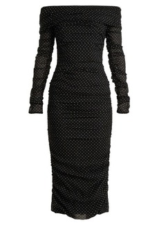Dolce & Gabbana Off-the-shoulder polka dot-print silk-blend dress