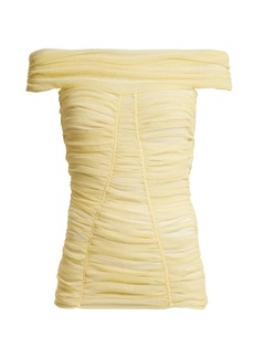 Dolce & Gabbana Off-the-shoulder ruched sheer top