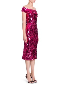 Dolce & Gabbana Off-The-Shoulder Sequin Dress