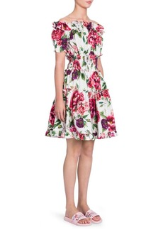 Dolce & Gabbana Off-The-Shoulder Stampa PeonieDress