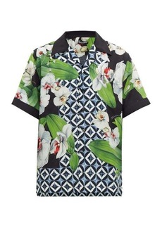 Dolce & Gabbana Orchid and tile-print twill shirt