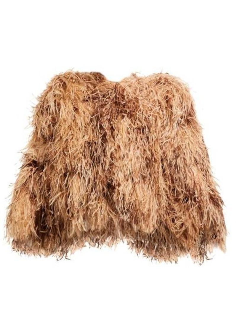 Dolce & Gabbana Ostrich-feather cropped bolero jacket