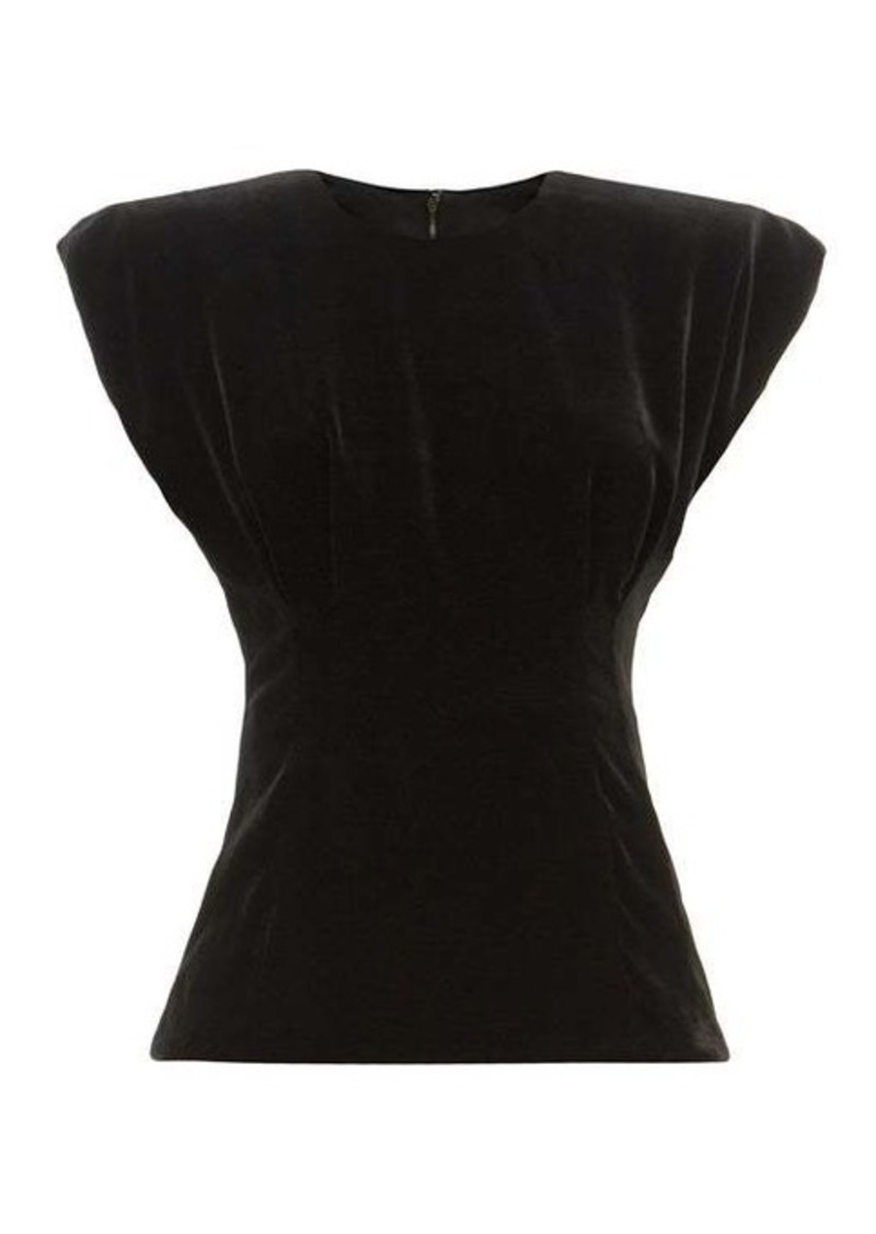 Dolce & Gabbana Padded-shoulder velvet top