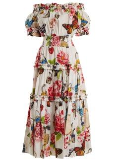 Dolce & Gabbana Padlock and garden-print off-shoulder dress
