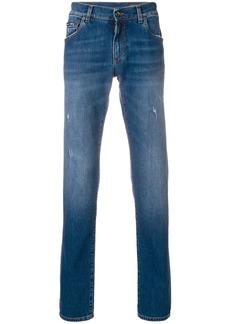 Dolce & Gabbana embroidered logo slim jeans - Blue