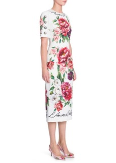 Dolce & Gabbana Peonie Print Cady Dress
