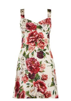 Dolce & Gabbana Peony and rose-print brocade mini dress