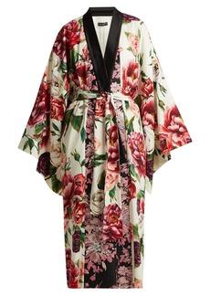 Dolce & Gabbana Peony and rose-print charmeuse kimono coat
