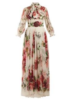 Dolce & Gabbana Peony and rose-print chiffon gown
