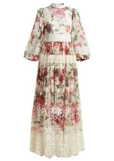 Dolce & Gabbana Peony and rose-print chiffon gown