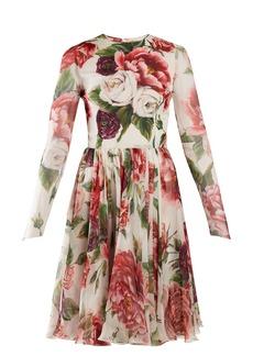 Dolce & Gabbana Peony and rose-print chiffon mini dress