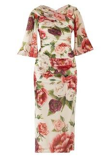 Dolce & Gabbana Peony and rose-print georgette midi dress