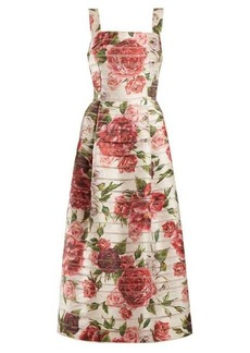 Dolce & Gabbana Peony and rose-print midi dress