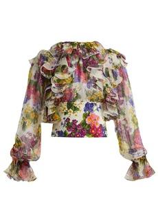 Dolce & Gabbana Peony and rose-print silk-chiffon blouse
