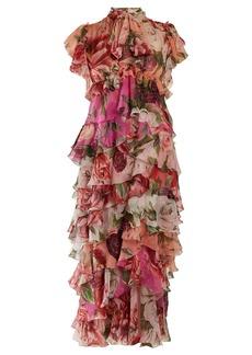 Dolce & Gabbana Peony and rose-print tiered silk-chiffon dress
