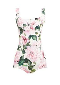 Dolce & Gabbana Peony-print cotton-blend bodysuit