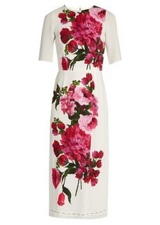 Dolce & Gabbana Peony-print crepe midi dress