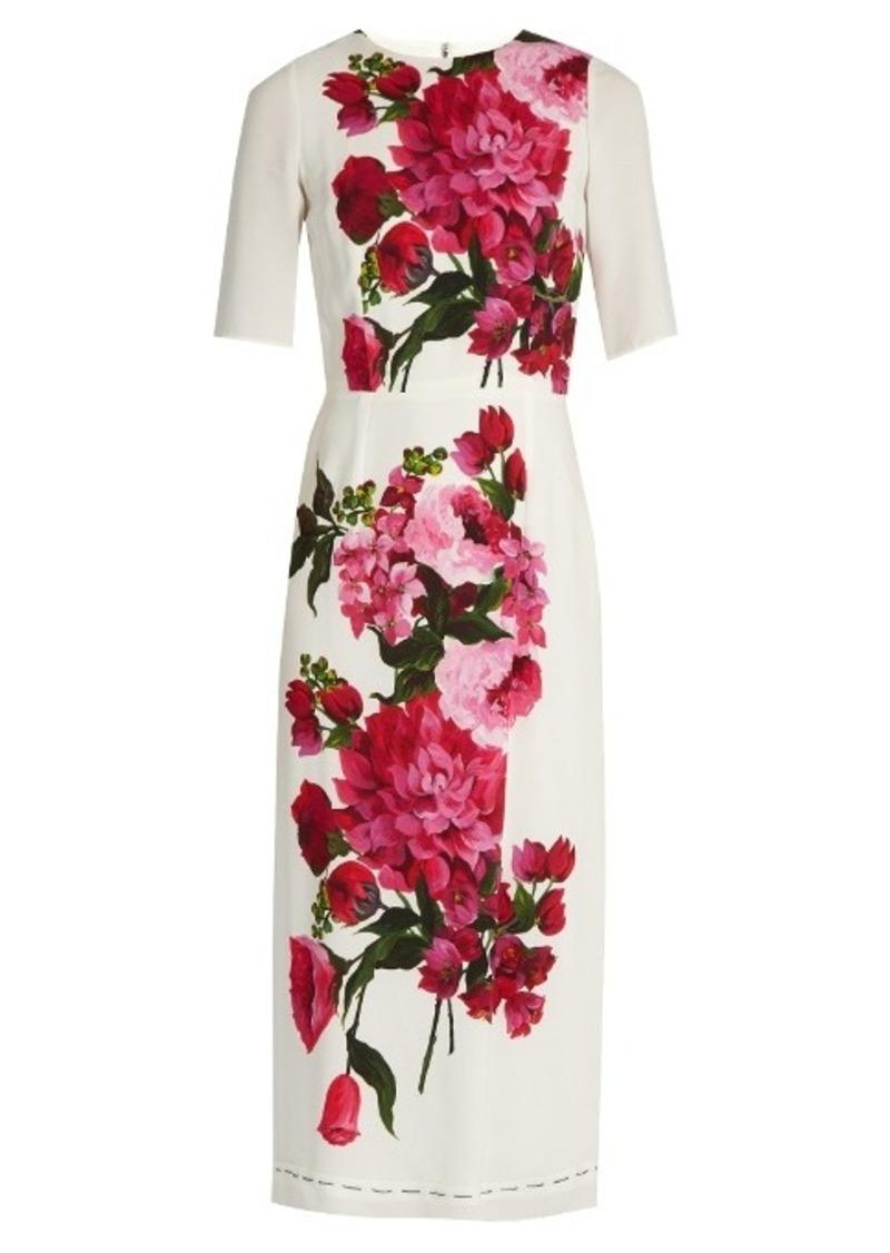 SALE! Dolce   Gabbana Dolce   Gabbana Peony-print crepe midi dress 6774449aa