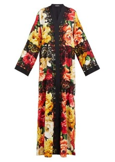 Dolce & Gabbana Peony-print lace-trim silk-blend coat