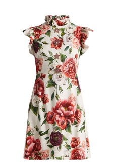 Dolce & Gabbana Peony-print ruffle-trimmed dress