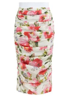 Dolce & Gabbana Peony-print silk-blend crepe pencil skirt