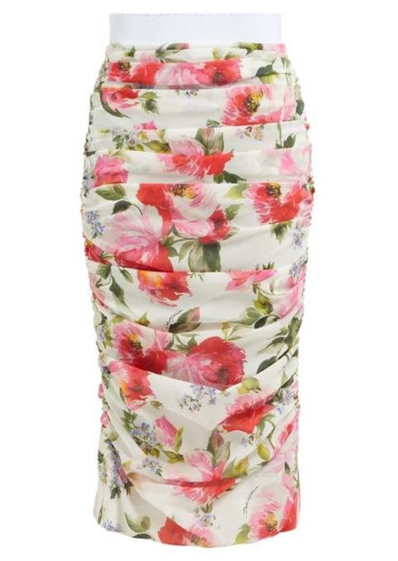 Dolce & Gabbana Peony-print silk-blend crepe pencil skirt