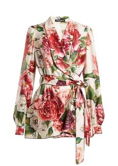Dolce & Gabbana Peony-print silk-twill belted pyjama jacket