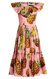 Dolce & Gabbana Pineapple-print ruffled cotton-poplin dress