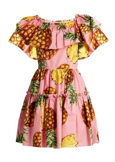 Dolce & Gabbana Pineapple-print ruffled-panel cotton dress