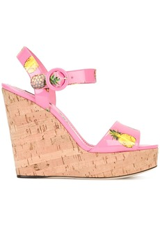 Dolce & Gabbana pineapple print wedge sandals - Pink & Purple