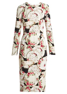 Dolce & Gabbana Plate-print stretch-crepe midi dress