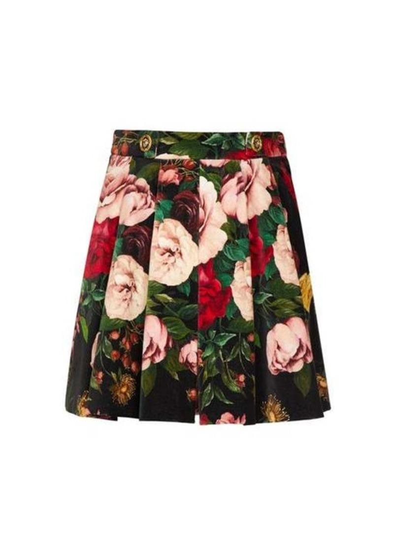 Dolce & Gabbana Rose-print pleated velvet shorts