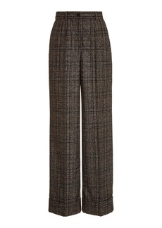 Dolce & Gabbana Pleated High-Rise Plaid Wide-Leg Trousers
