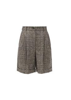 Dolce & Gabbana Pleated high-rise wool-blend tweed shorts