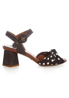 Dolce & Gabbana Polka-dot print knotted-front and raffia sandals