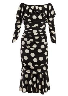 8b7e22ac1068 Dolce & Gabbana Polka dot-print off-the-shoulder ruched midi dress