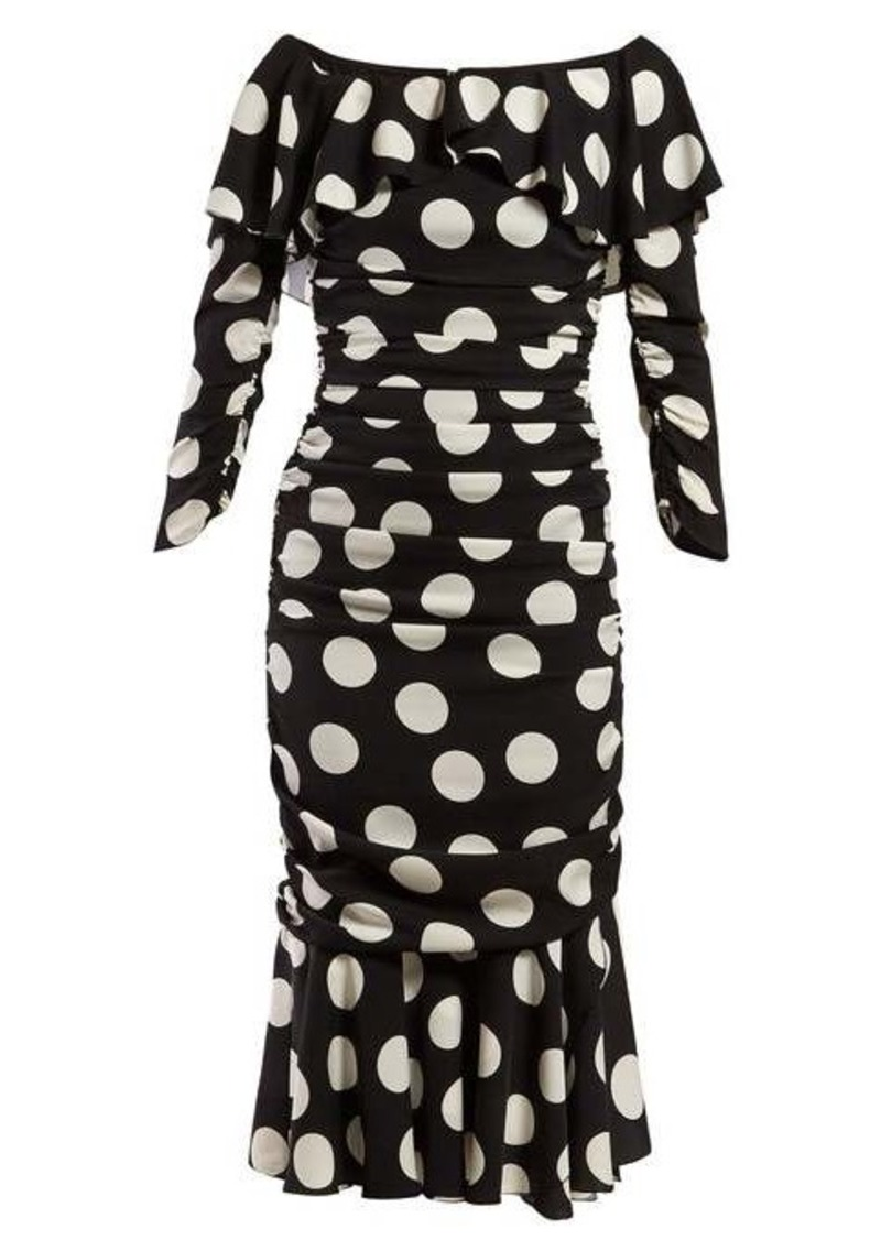 Dolce & Gabbana Polka dot-print off-the-shoulder ruched midi dress