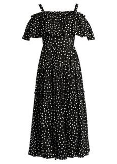 Dolce & Gabbana Polka-dot print off-the-shoulder ruffled dress