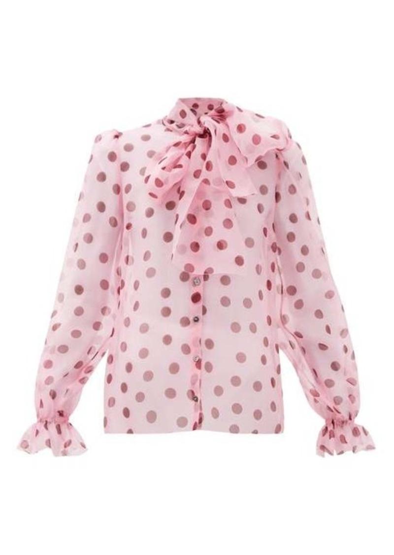 Dolce & Gabbana Polka dot-print pussy-bow organza blouse