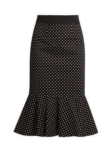 Dolce & Gabbana Polka-dot print stretch-cotton midi skirt